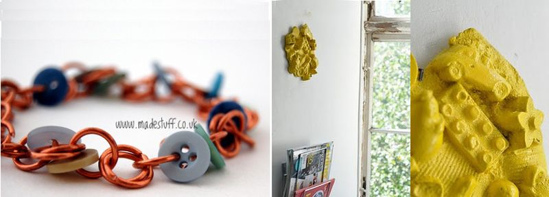 Button copper ring braclet+plaster castwall art