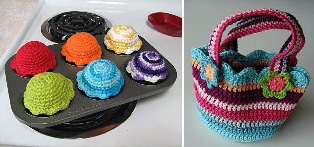 Crocheted cupcakes+cute striped bag