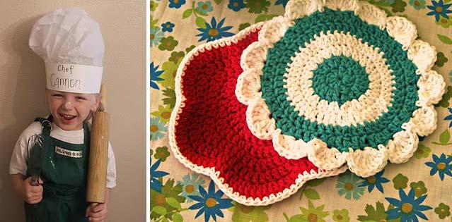 Baker's Hat, crocheted potholders