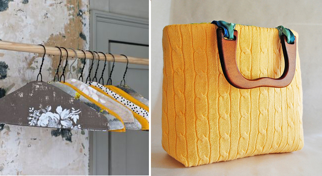 Covered Hangers+Bag from Cabled Sweater