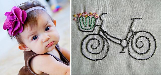 Felt flower headband+embroidered bicycle