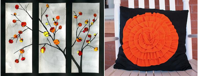 Fall eggshell art+rosette pillow