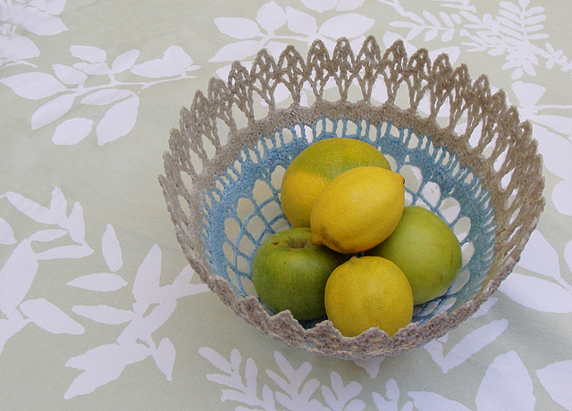 Crocheted Doily  Fruit Bowl