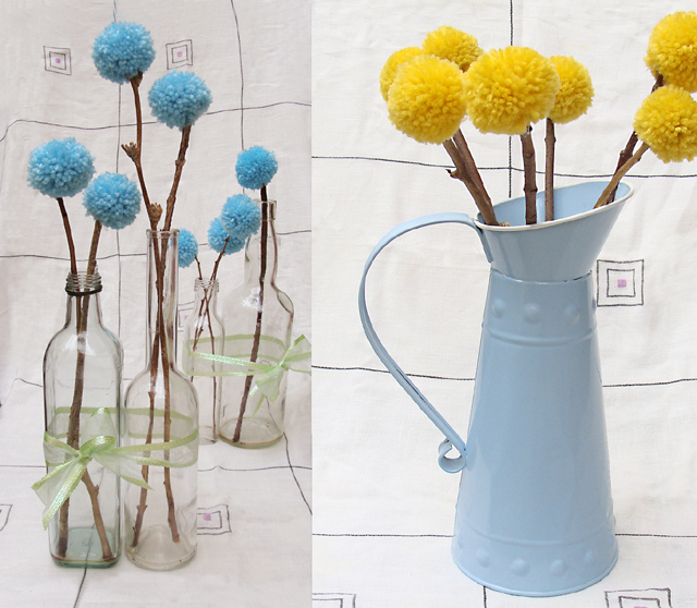 Pom Pom flowers Aqua+Yellow Arrangements