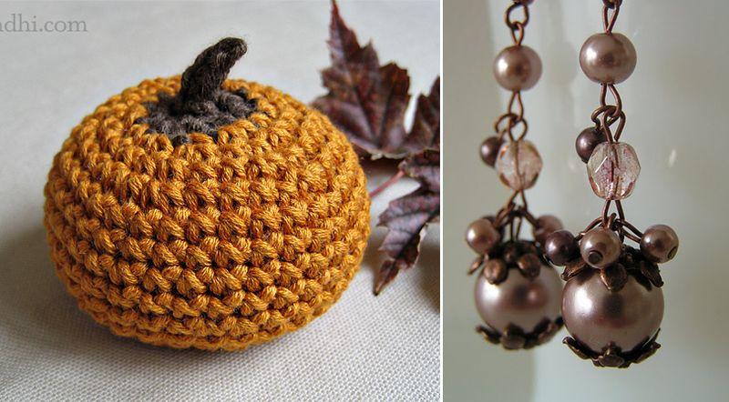 Crocheted pumpkin+fall earings