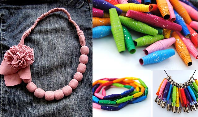 Jersey fabric necklace+paper bead necklaces