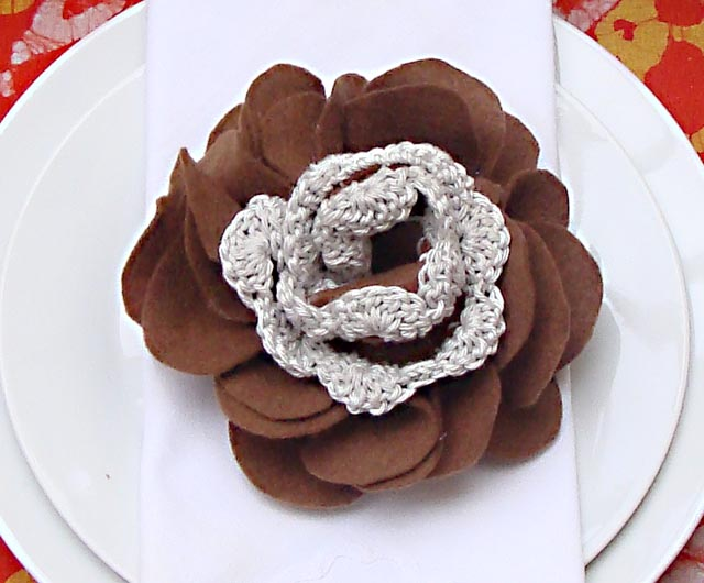 Felt Flower With Crochet Closeup