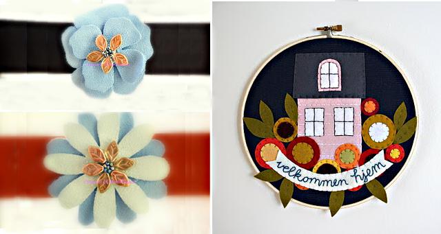 Suede flowers+felt house applique