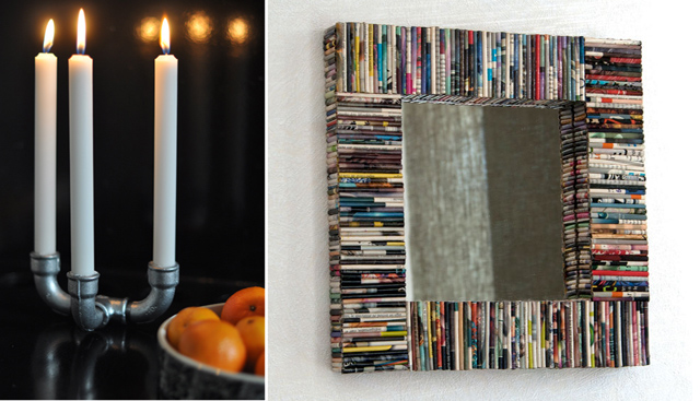 Pipe candelabra,recycled magazine pages mirror frame