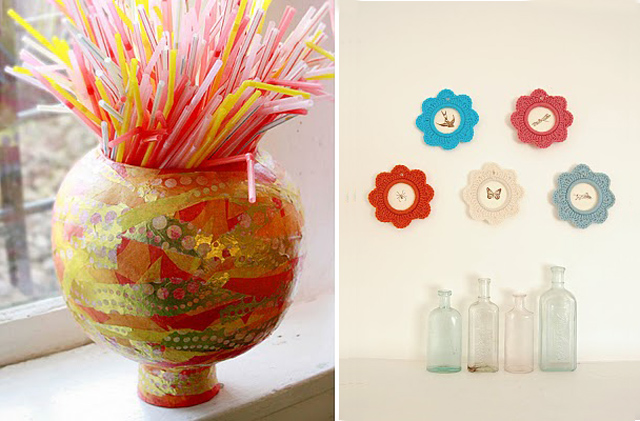 Upcycled plastic pumpkin vase,crochted tiny frames