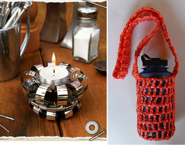 Tin can tea light holder, plarn water bottle holder