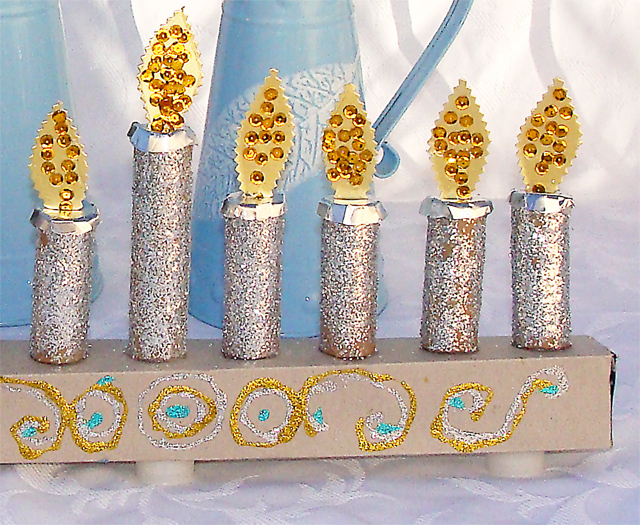 Hanukkah Kid's Menorah Craft close up