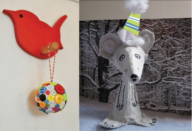 Button ball and egg carton winter mouse