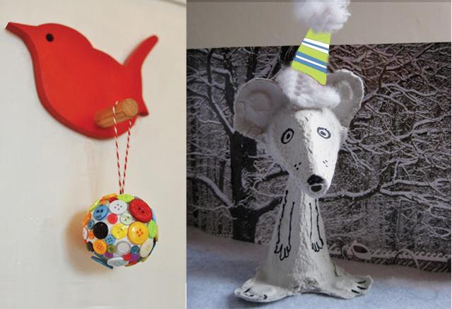 Button ball and egg carton winter mouse