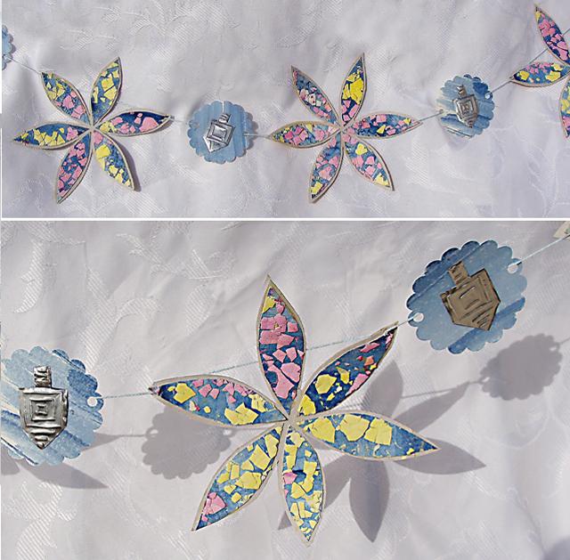 Hanukkah Bunting-Garland With Eggshell MosaicStars