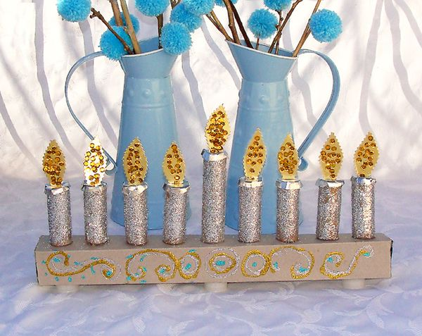 Hanukkah kid 39 s craft a glittery menorah with a little for Menorah arts and crafts