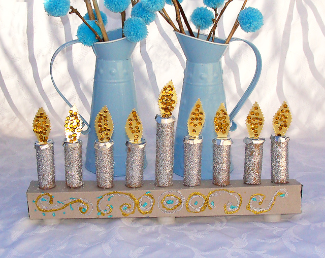 Hanukkah Kid's Menorah Craft