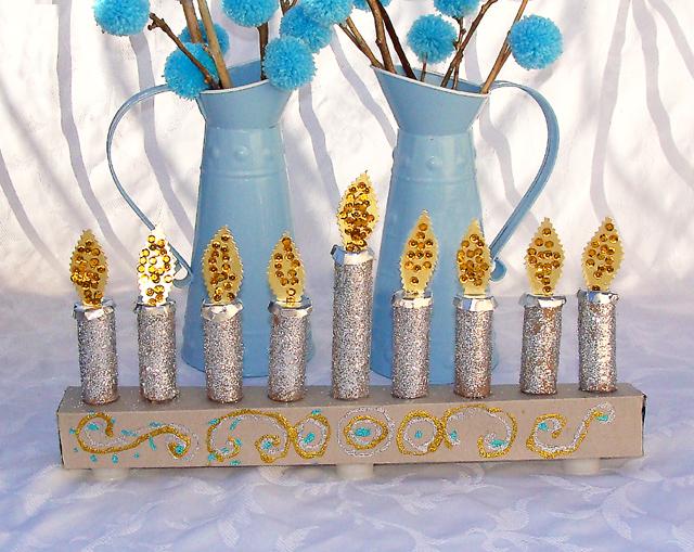 Hanukkah Kid's Menorah Craft