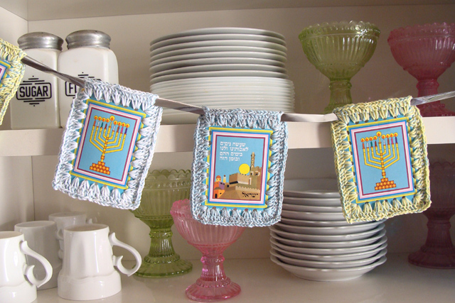 Hanukkah Crocheted Border On Cards Bunting2