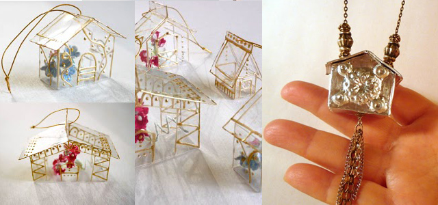 Plastic greenhouse ornaments,silver duct tape house pendant