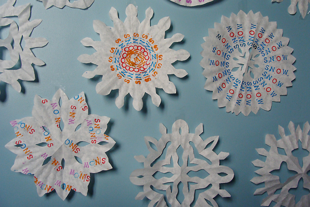 Winter Crafts Coffee Filter Snowflakes With A Message Creative