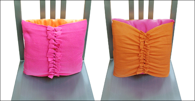 No Sew fleece reversible bow tie pillow