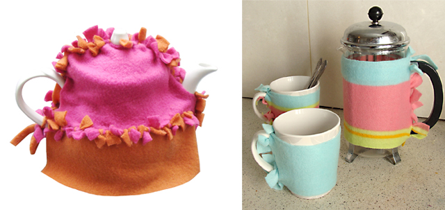 No Sew Fleece Tea Cozy +Coffee Press Warmer