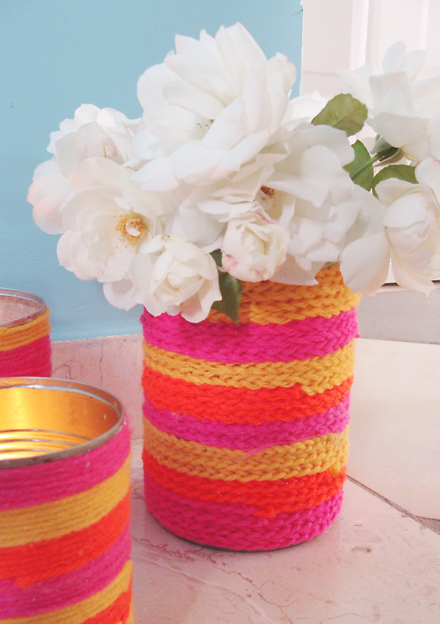 Yarn Wrapped Can With Crocheted Chain