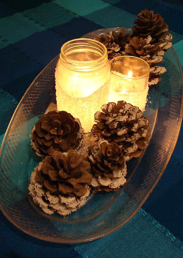 A kosher salt snowstorm snowdrift luminary pinecone