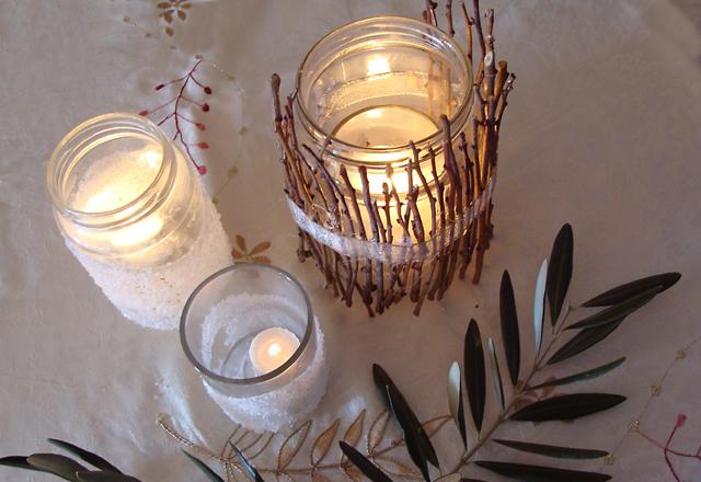 DIY Twig Luminarie Candle Jar