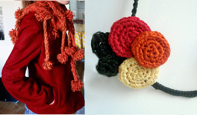 Pom pom crocheted scarf+ crocheted underwire necklace