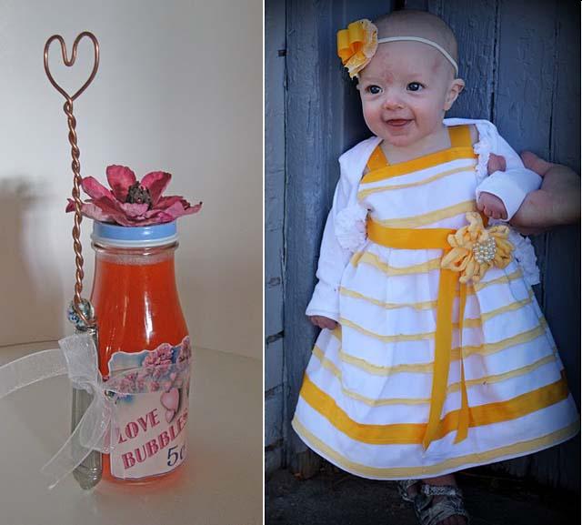 Bubble blower+amazing baby dress