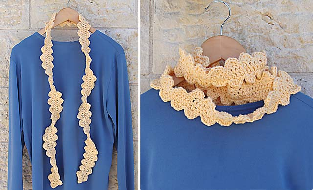 Crocheted Skinny Scalloped Scarf