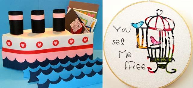 Milk Carton Boat, Embroidery Bird Cage