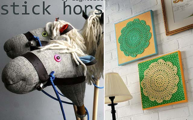 Stick horse and doily wall art