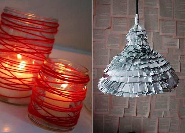 Yarn Luminaries, duct tape lamp