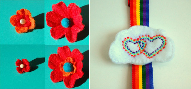 Felt Flower+Rainbow Headband
