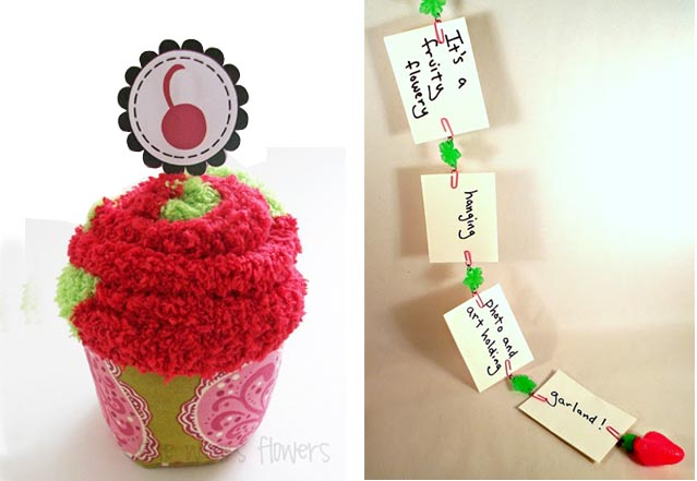 Sock cupcake +photo garland