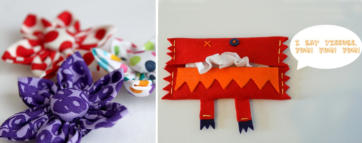 Felt Kleenex Monster, fabric flowers
