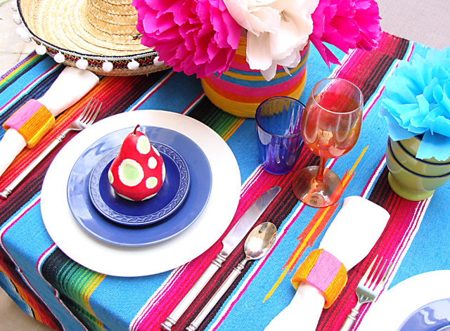 Mexican Purim Fiesta Table Setting With Sombrero