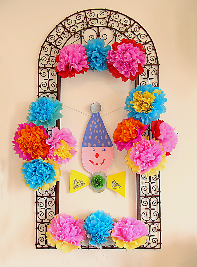 Crepe Paper Flowers In Frame