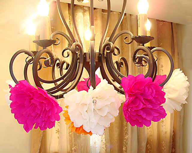 Crepe Paper Flowers Decorate Chandelier