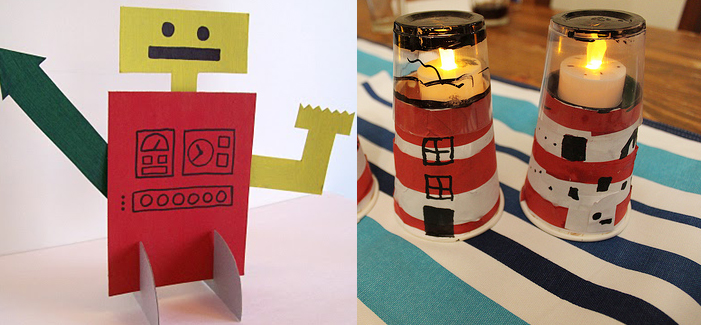Cardboard robot, lighthouse cups