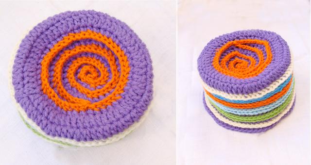 Crocheted Embellished Striped Beanie