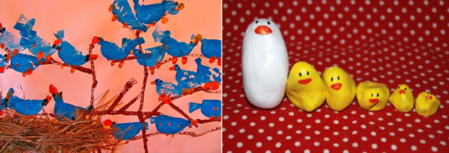 Painted rock mommy +chicks, bird potato print