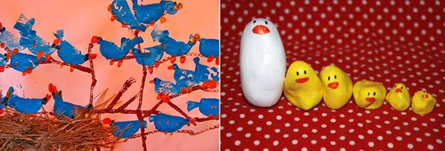 Painted rock mommy +chicks, bird potato print