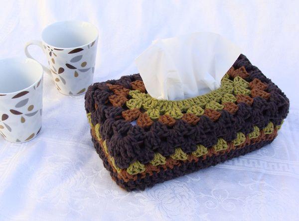 Handmade Holiday Crochet A Chunky Granny Tissue Box Cover