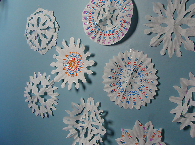 Coffee Filter Stamped Snowflakes