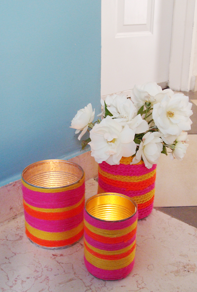 Yarn Wrapped Cans
