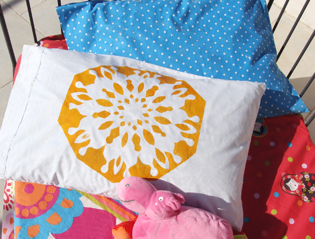 Freezer paper Stenciled Snowflake pillowcase